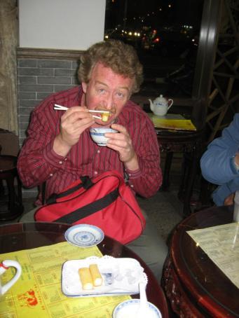 Bill eating Deep Fried Milk