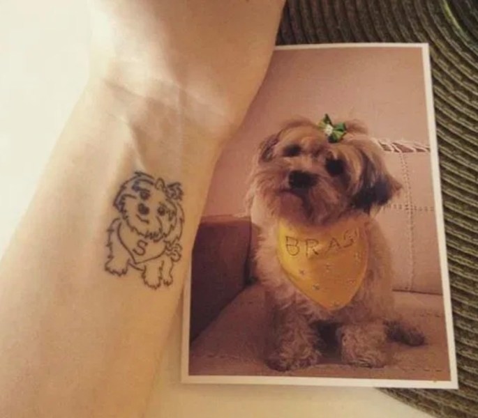 cartoon dog tattoo