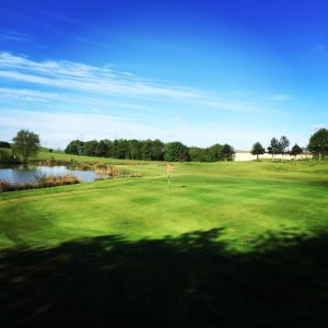 Barlborough Links Golf Club 9th hole red flag golf course driving range FootGolf
