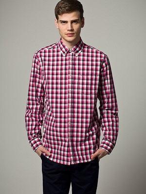camisa xadrez rosa masculina