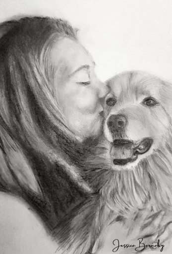 Girl and Dog, Jessica Barnaby Pet and Portrait Artist