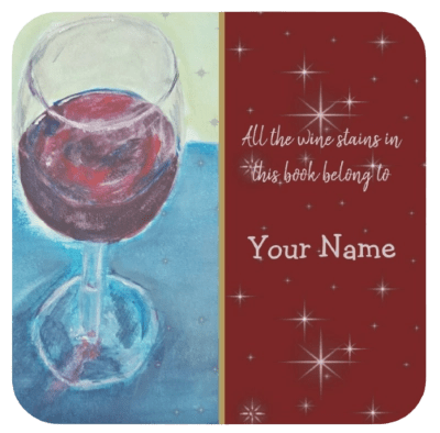 Personalised Glass of Wine bookplate