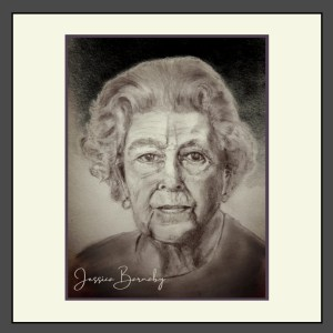 Her Majesty The Queen Portrait Charcoal Art - Barnaby Studio by Jessica Barnaby