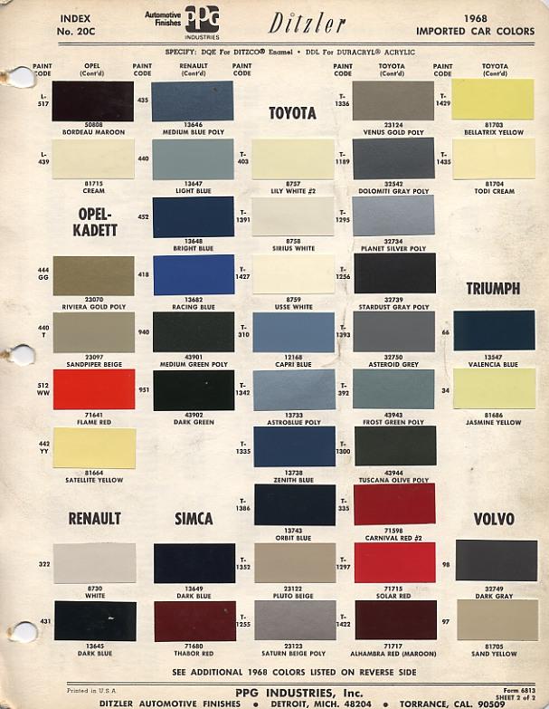 Ppg Automotive Paint Color Codes   Colorpaints.co
