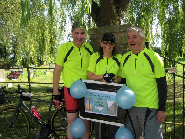 Paul, Janine & Clem complete 316Km Calling All Saints cycle challenge