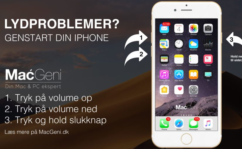 iPhone 7 iPhone 8 X XR problemer med lyden i iphone - genstart din iphone macgeni hjælp guide tips