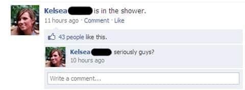 kelsea in the shower. facebook