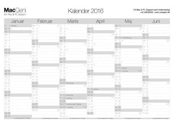 download gratis kalender år 2016 - 2 sider 6 måneders oversigt til print a4 a3