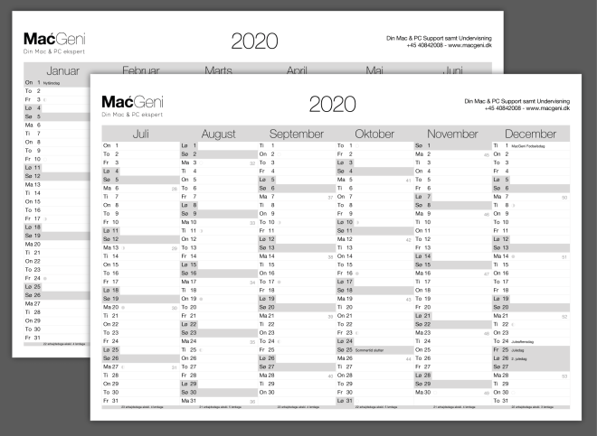 download gratis 2 side 6 måneders kalender 2020 print selv årsoversigt grå design