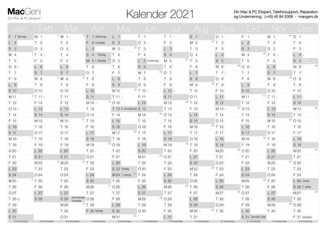 grå 2021 download gratis kalender 2021 print selv årsoversigt 1 sidet 12 måneder mdr
