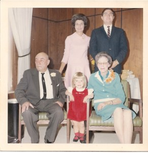 Susie with Grandparents 50th wedding annv mom and Robert (brother )1967