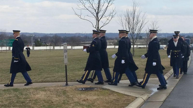 The Military Honor Guard arrives