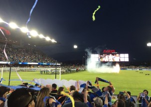 National anthem at the San Jose Earthquakes game, followed by patriotic mayhem.
