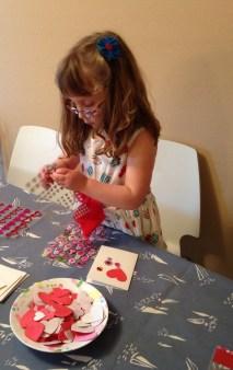 Making Valentine's cards.