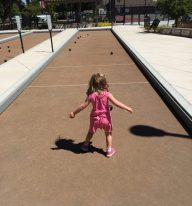 Bocce Ball. Moments later she almost bocce'ed my toe.
