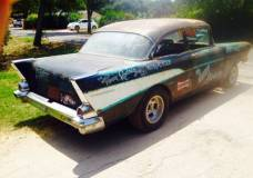 Rear Quarter view of Craigslist find '57 Chevy drag car