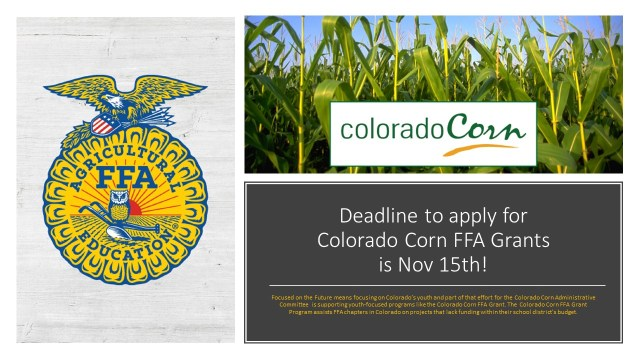 Deadline to apply for Colorado Corn FFA Grants is Nov 15th version 3