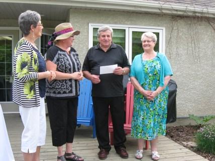 2014 Donation to Tabor Home. From left to right: Carol Burton, Karla Warkentin, Wilf Warkentin, Nan Fieber