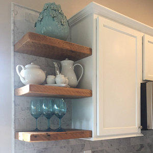 Two custom barn wood floating shelves in Natural- 36x10x2 and 48x10x2