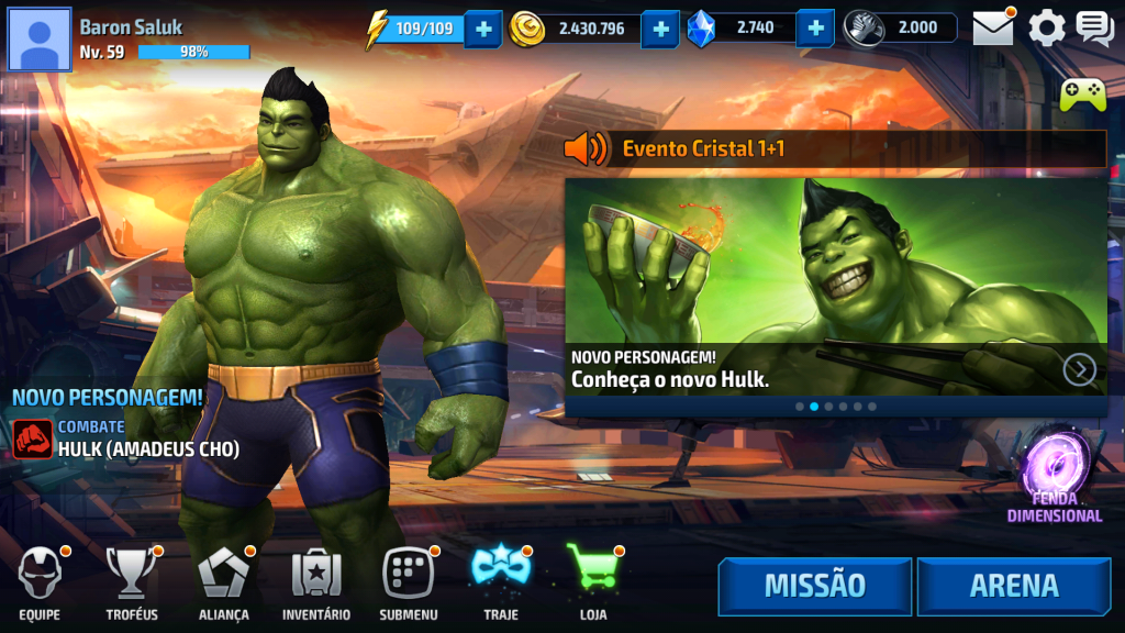 Tela inicial Marvel Future Fight