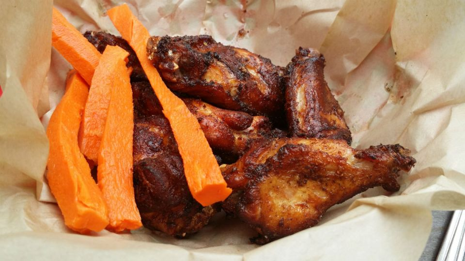 Smoked, brined chicken wings