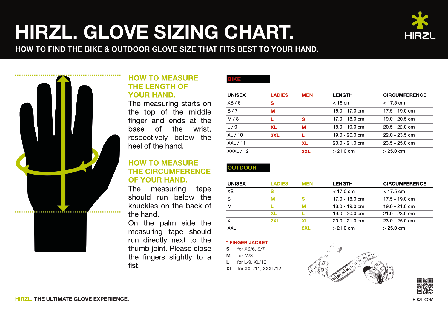 Hirzl's sizing chart - is accurate
