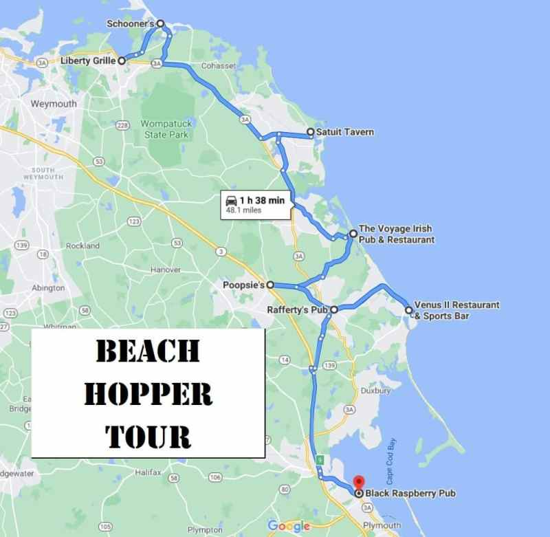 South Shore Bar Pizza Beach Hopper Tour Map