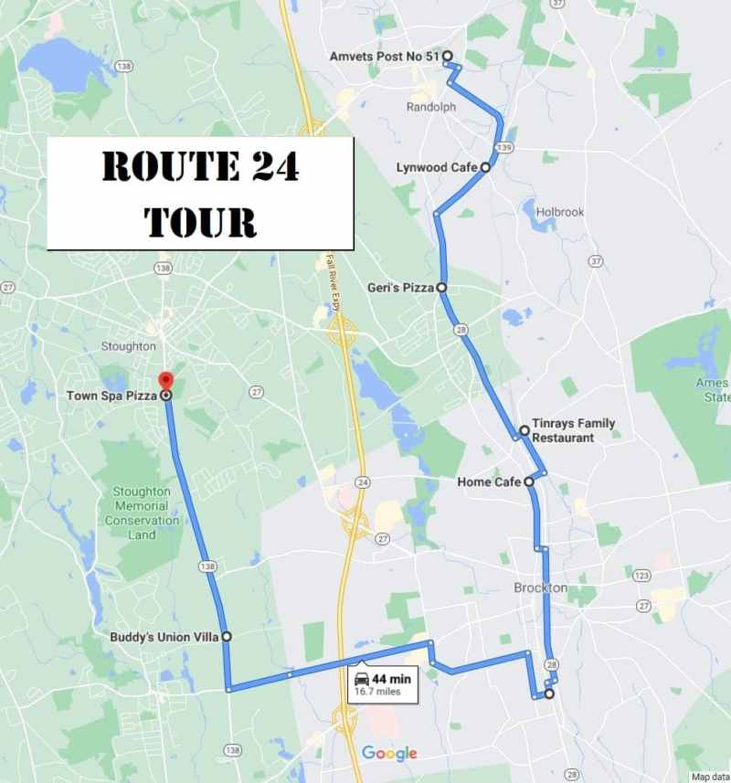 South Shore Bar Pizza Route 24 Tour Map