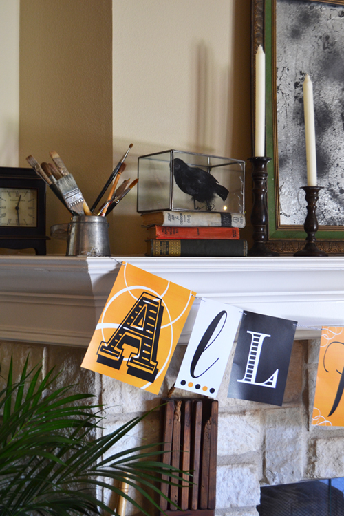 Halloween Mantle with Books and Crow