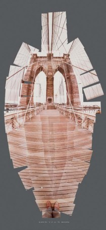 "David Hockney, ""Brooklyn Bridge"" Photographic collage 109 x 58 3/8 in. (277.3 X 148.2 cm) (1982)"