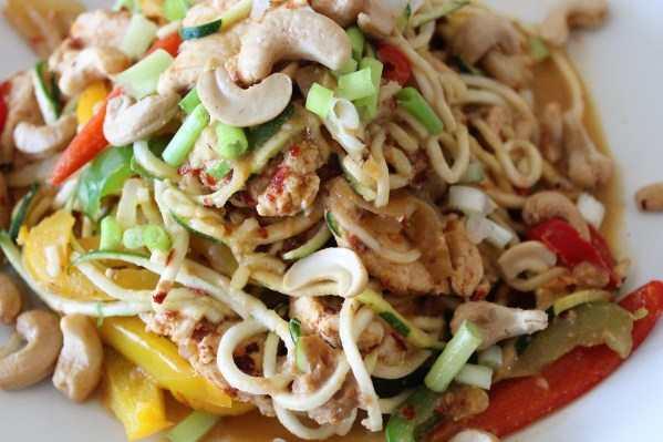 Spicy Chicken Cashew Pasta