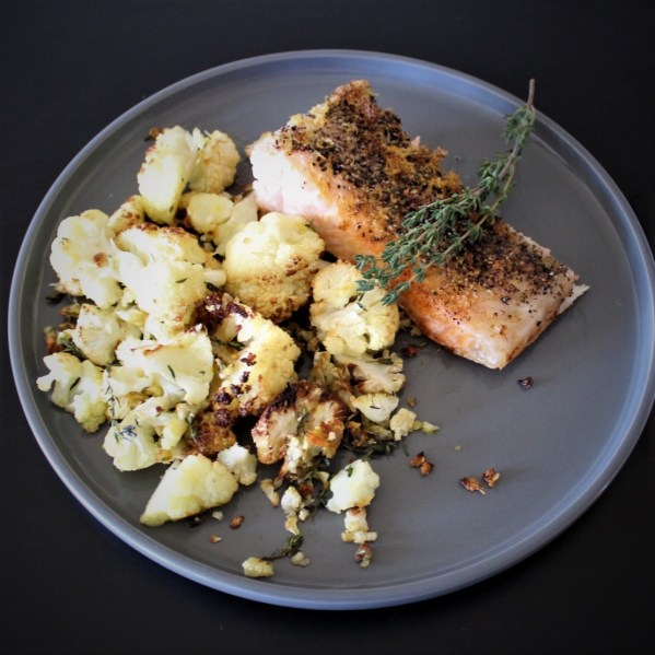 Whole30 Lemon Pepper Salmon w/ Roasted Cauliflower