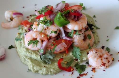 don't sweat the small stuff - whole30 spicy shrimp with avocado puree