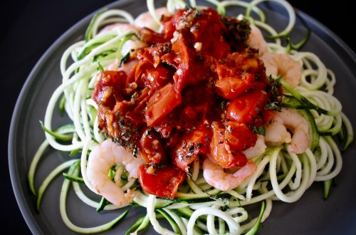 for the right reasons - whole30 shrimp pomodoro pasta