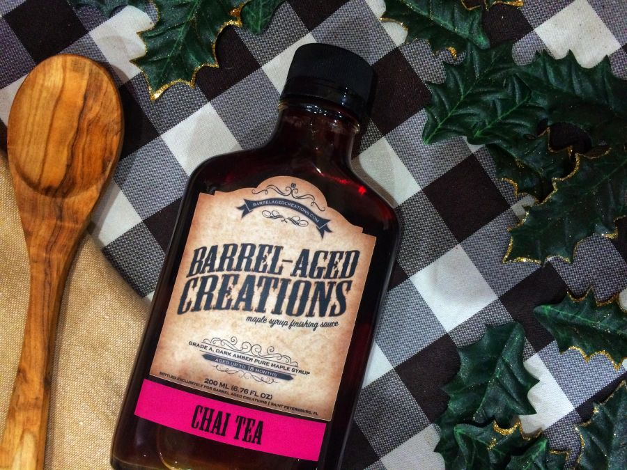 chai tea, barrel aged maple syrup, maple syrup, gourmet syrup, chai, holiday, seasonal, breakfast, glaze, sauce