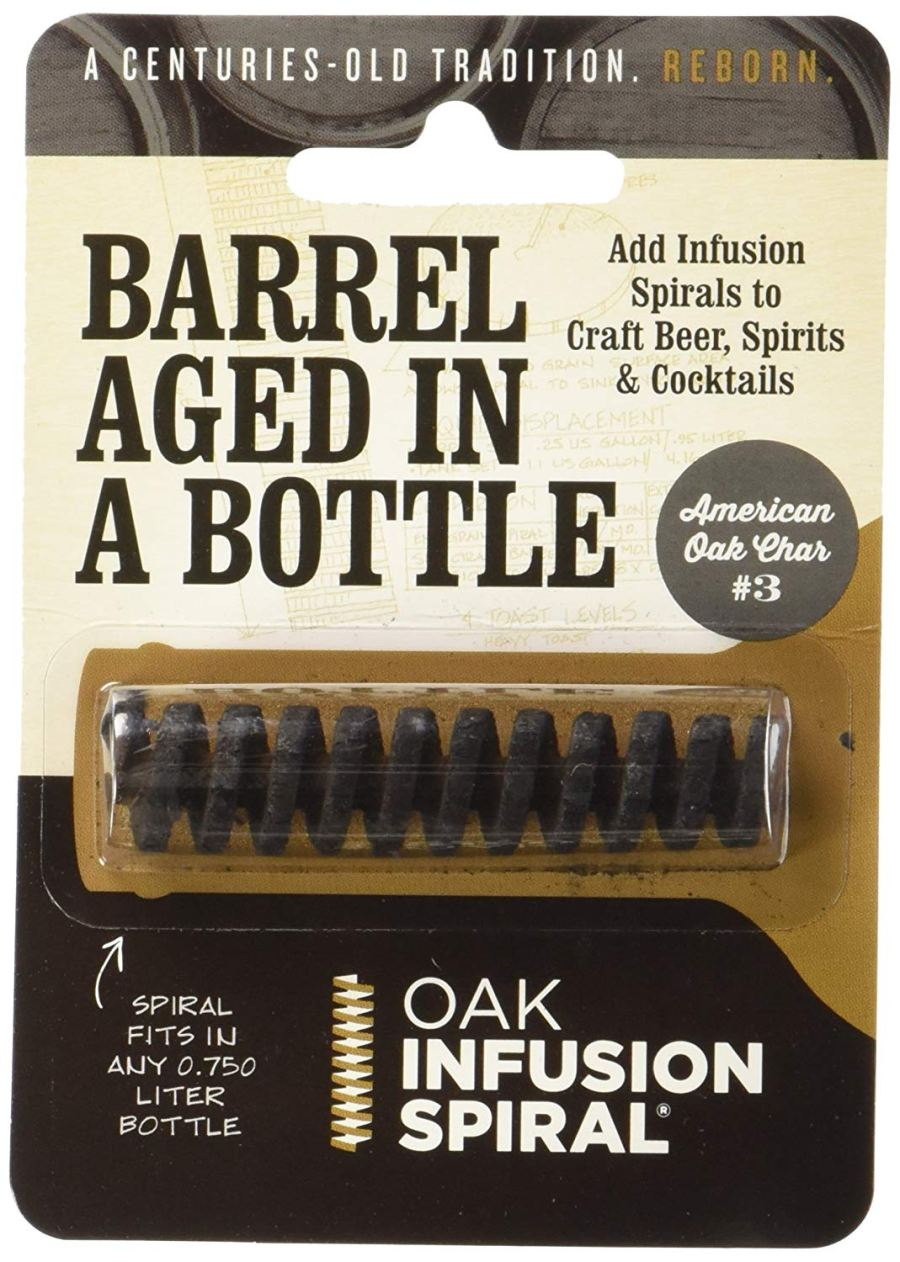 barrel aged in a bottle, oak infusion spiral, aged spirits, barrel aged creations, bourbon inspired gifts for him