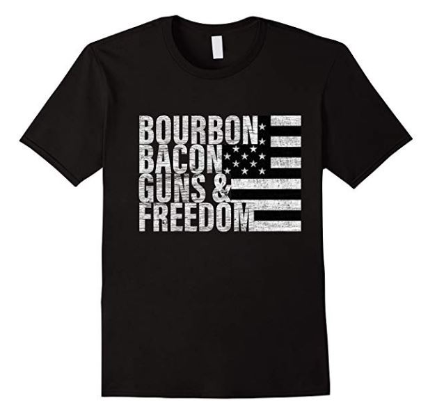 bourbon bacon guns and freedom t shirt, barrel aged creations, bourbon inspired gifts for men
