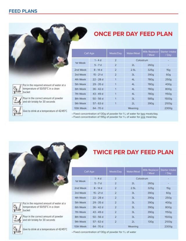Lactalis milk replacer feed plan