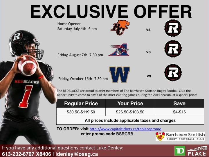 Ottawa RedBlacks Football Club exclusive ticket offer for Barrhaven Scottish Rugby Football Club