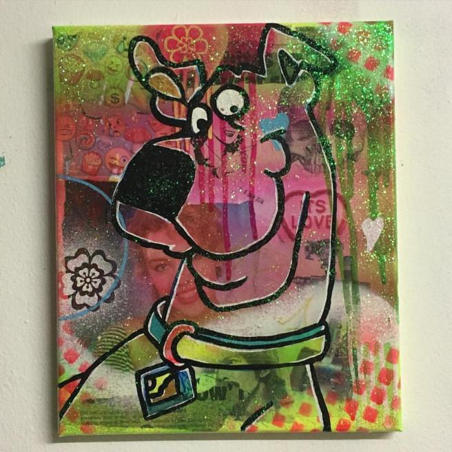 """Tick tick boom"" by Barrie J Davies 2016, mixed media on canvas, 20cm x 30cm"