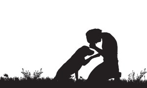 Image. Silhouette of a woman kneeling in a meadow, her head down, fists on her forehead, with her guide dog sitting in front of her with his right paw on her arms, comforting her.