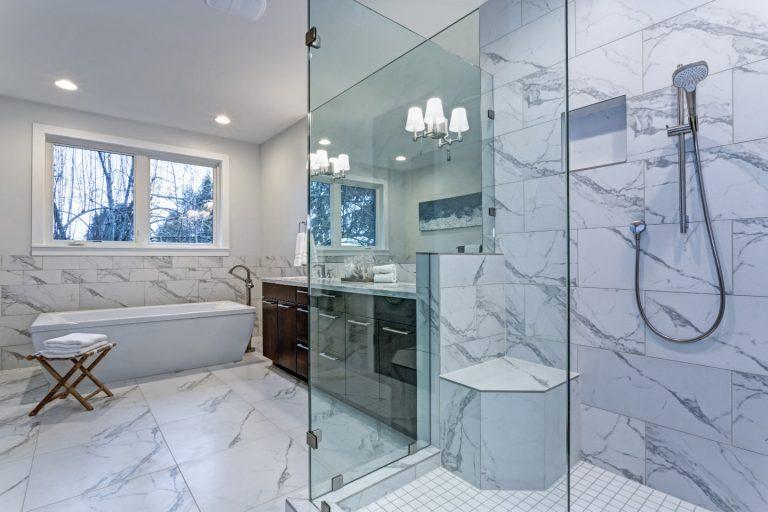 """1/2"""" glass shower door marble tile floor"""