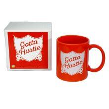 rock scissor paper gotta hustle ceramic mug