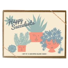 happy succulents greeting card set