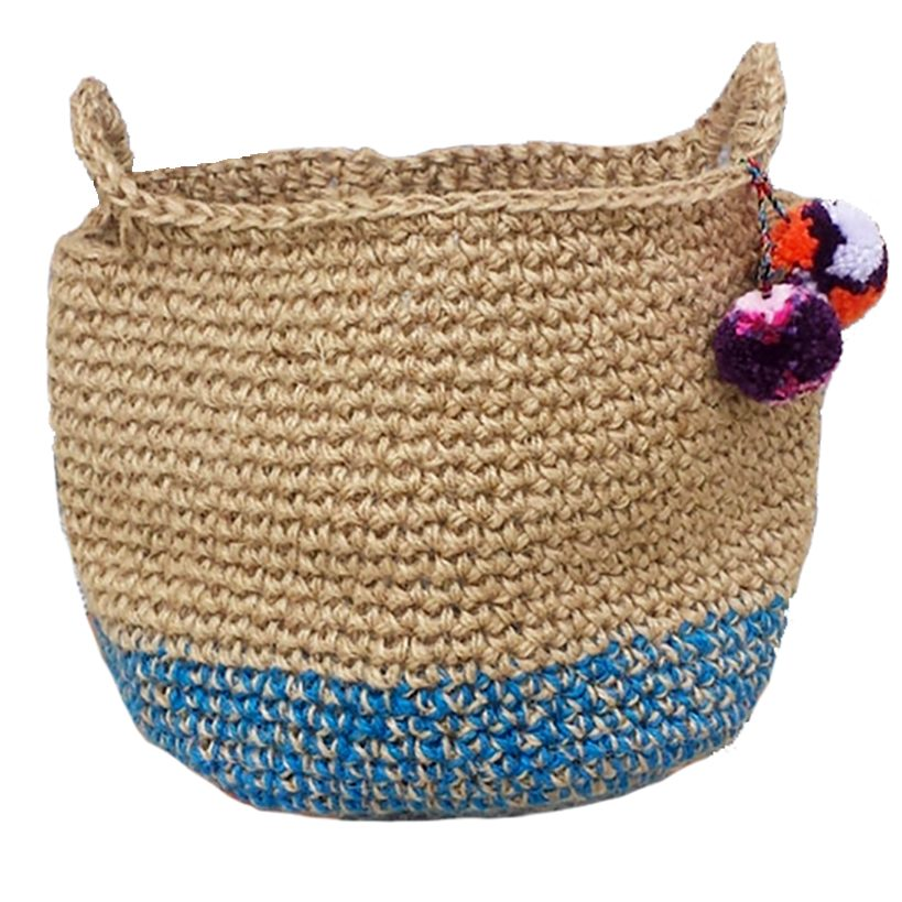 large jute crocheted basket in blue