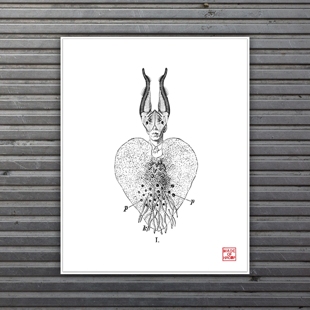 limited edition fish heart print Made of Hagop
