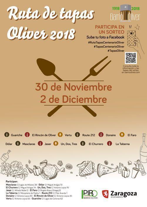 Cartel Ruta de Tapas Oliver 2018
