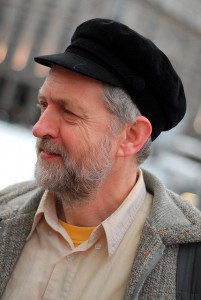 "Jeremy Corbyn wearing his ""Lenin"" style cap. (David Martyn Hunt)"