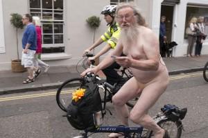 Police escort for naked bike rider, Brighton 2015 Photo: Bryan Ledgard