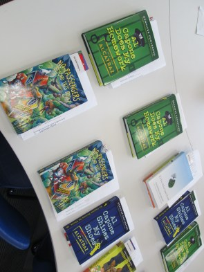 Books lined up for autographs